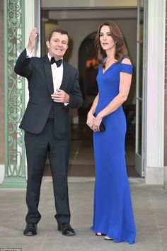 dailymail: SportsAid 40th Anniversary Dinner, Kensington Palace, June 9, 2016-Duchess of Cambridge debuted the Roland Mouret 'Nansen' gown in royal blue, with cut-out shoulders, paired with her Gianvito Rossi 'Sisely' sandals and Cartier Tri-gold diamond studded hoop earrings