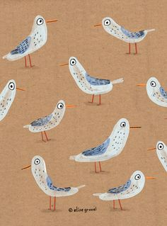 Elise Gravel • illustration • seagulls • art • birds • beach • summer • cute • pattern • brown • animals •