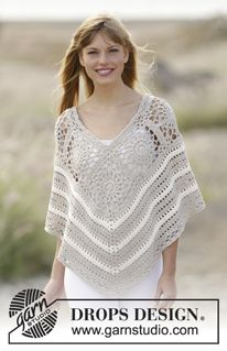 """Sweet Martine - Crochet DROPS poncho with squares and lace pattern in """"Cotton Light"""". The piece is worked top down. Size: S - XXXL. - Free pattern by DROPS Design"""