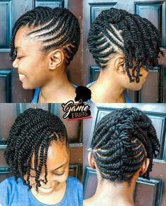 Cornrow Updo On Natural Hair, Natural Braided Hairstyles, Natural Hair Twists, Natural Hairstyles For Kids, Natural Hair Styles For Black Women, Cornrow Updo Hairstyles, Kid Hairstyles, Holiday Hairstyles, Hair Twist Styles