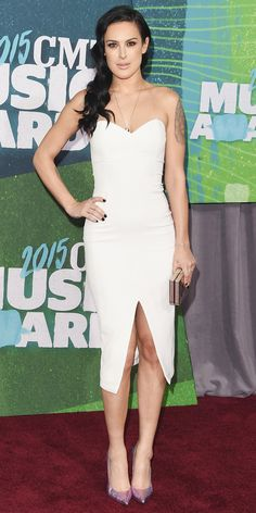 Rumer Willis in a strapless white dress