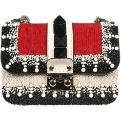 Valentino Garavani spring/summer 2015 leather small Lock bag with beads, stones and sequins embroidery on front fly, and attached studs. One inner zipped pocke…
