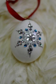 Painted Egg Ornament by LittlePrettyTrinkets on Etsy, $100.00