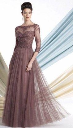Vestido para senhoras de festas - longo bronze - long dress