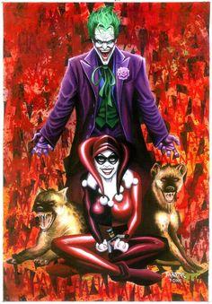 the joker and harley quinn by FrankAKadar.deviantart.com  https://www.etsy.com/listing/104461128/joker-harley-quinn-11-x-17-fan-art-print?ref=v1_other_1