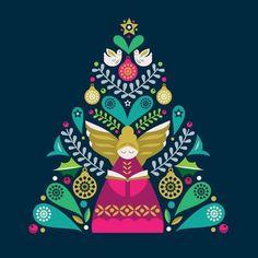 'Tree Angel' Prints - Amanda Shufflebotham | AllPosters.com Christmas Drawing, Christmas Art, All Things Christmas, Vintage Christmas, Christmas Decorations, Deco Nature, Scandinavian Folk Art, Christmas Illustration, Lovers Art