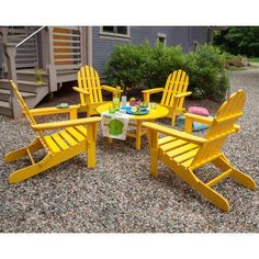 adirondack seating group | POLYWOOD Classic Folding Conversation 5 Piece Adirondack Seating Group