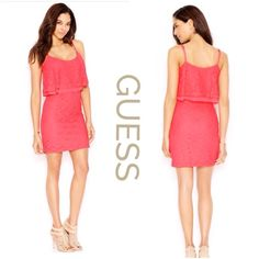 "Guess Katia Pink Lace Flyaway Dress Beautiful grapefruit pink dress by Guess in a flattering high waist style features a ruffle bodice, hidden side zipper, spaghetti straps all in a pretty eyelet lace, fully lined..length:36"", bust:34"", waist:28"" Guess Dresses Mini"