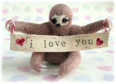 Three Toed Sloth Needle Felted Animal Ornament by Mythillogical