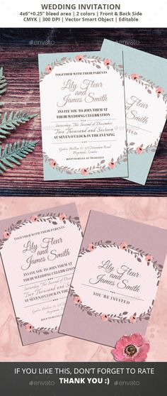 Floral Wedding Invitation Invitations, Template and Wedding - download invitation card
