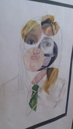 Mixed media bubble portrait. Year 11 GCSE art