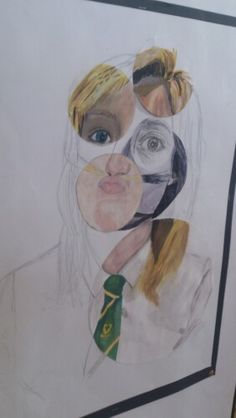 Mixed media bubble portrait. Year 11 GCSE art