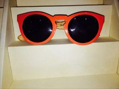 Waiting for the Sun Duex 5, Orange Handcrafted Wood Sunglasses