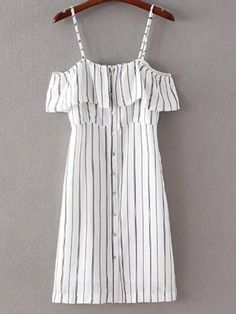 To find out about the Black White Stripe Buttons Front Spaghetti Strap Dress at SHEIN, part of our latest Dresses ready to shop online today! Stylish Dresses, Cute Dresses, Casual Dresses, Casual Outfits, Cute Outfits, Casual Shorts, Look Fashion, Trendy Fashion, Fashion Outfits