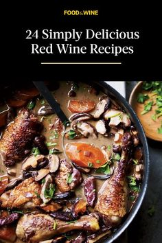 While we love a great glass of Bordeaux with a home-cooked meal, we also know that red wine is fantastic for more than just drinking. In the rare occasion that you find yourself with leftover wine, don't let it go to waste! , amazing sauces, and even can all be made better after adding a bit of Pinot Noir, Burgundy, or whatever rich red wine you have on hand.#redwine #redwinerecipes #dinnerrecipes Winter Meals, Winter Dinner Recipes, Healthy Dinner Recipes, Duck Recipes, Turkey Recipes, Savoury Dishes, Food Dishes, Cooking Wine Recipes, Cooking With Red Wine
