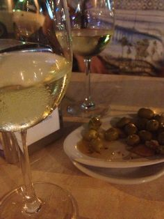 Spanish olives and wine