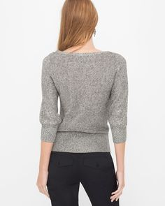 """The oh-so-classic pullover sweater is revived with sequin cable-front details and ribbed hem. Crafted from a cotton blend, it brings effortlessly cool style to tailored pants, skinny jeans and more.   Sequin pullover in heather dark taupe  Polyester/cotton/acrylic. Machine wash.   Approx. 25 1/2"""" from shoulder  Imported"""