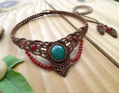 Chrysocolla macrame necklace macrame stone by SelinofosArt on Etsy