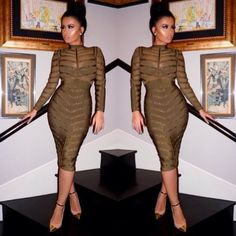 Studded olive green bandage dress   Nalu Boutique