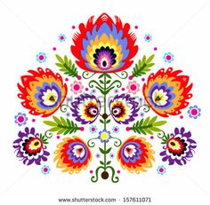 Folk Embroidery - Flowers. Polish traditional folk pattern.