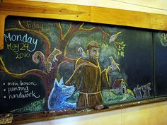 Waldorf ~ 2nd grade ~ Saints ~ St. Francis ~ chalkboard drawing