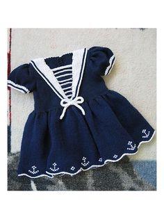 Stricken Sailor Dress pattern by Judy Lamb, Baby Girl Crochet, Crochet Baby Clothes, Sailor Baby, Navy Sailor, Baby Dress Tutorials, Knit Baby Dress, Sailor Dress, Baby Sweaters, Baby Knitting Patterns