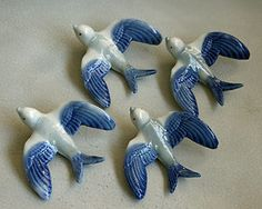 Irish Wade Whimsies Swallows. 4 blue Swallows. Rare and Collectable.