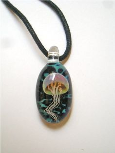 Lampworked Glass Jellyfish Necklace