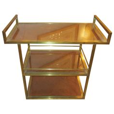 Sculptural Three Tier Brass  Bar Cart