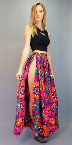 Vintage 60s 70s Psychedelic Maxi Skirt Hippie Flower Power Wrap Sarong Style Pop Op Art Abstract Floral Print Festival Apron Beach Cover Up by BlueFridayVintage on Etsy
