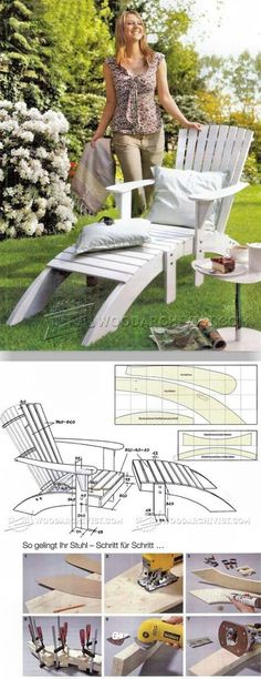 Adirondack Chair and Footrest Plans - Outdoor Furniture Plans and Projects - Woodwork, Woodworking, Woodworking Plans, Woodworking Projects Adirondack Chair Plans, Adirondack Furniture, Outdoor Furniture Plans, Pallet Furniture, Rustic Furniture, Garden Furniture, Diy Wood Projects, Outdoor Projects, Pool Chairs