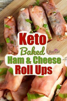 These Keto Easy Baked Ham and Cream Cheese Roll Ups are SO good and simple! They make the perfect appetizer for Easter or Mother's Day! - Easy, Keto baked ham and cream cheese roll-ups are full of the perfect blend of fresh spices and baked to perfection! Ham Cheese Rolls, Ham And Cheese Roll Ups, Cream Cheese Roll Up, Baked Cheese, Ham Roll Ups, Lunch Snacks, Clean Eating Snacks, Keto Snacks, Lunches