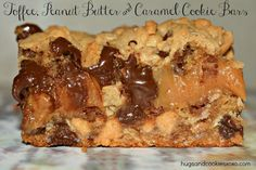 Toffee, Peanut Butter and Caramel Cookie Bars - Hugs and Cookies XOXO