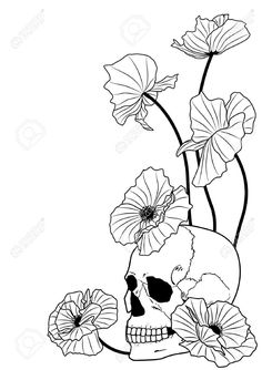 Black And White Poppy Flowers With Skull Tattoo Stencil