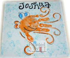 This could work as an octopus. Just don't paint the thumbs, and overlap the palms. Adult Crafts, Baby Crafts, Preschool Crafts, Kids Prints, Foot Prints, Hand Prints, Paint Your Own Pottery, Footprint Crafts, Alphabet Crafts