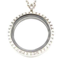 Silver Memory Locket with Crystals