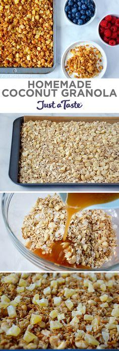 Homemade Coconut Granola recipe from justataste.com #healthy #recipe
