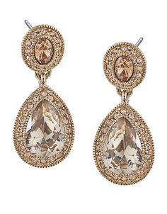 Gold-Tone Topaz Crystal Drop Earrings | Lord and Taylor $45