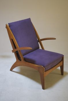 1950's elegant oak armchair attributed Marcel Louis Baugniet