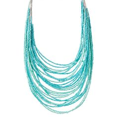 ZAD Turquoise Beaded Multistrand Necklace ($9.99) ❤ liked on Polyvore featuring jewelry, necklaces, dangle necklace, layered chain necklace, strand necklace, multi-chain necklace and turquoise bead necklace