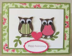 Anniversary card, owls