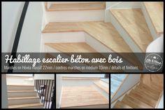 Habillage d'un escalier béton avec du bois :  2 marches, toutes différentes à tailler pour cet escalier !  Toutes les marches, paliers et finitions sont en Hévéa massif de 22mm, les cornières de seuil et autres baguettes quand à elles ont été délignées.  C'était un travail intéressant qui demandait pas mal de précision, et de temps pour caler correctement les marches, afin d'obtenir une hauteur de marche régulière. Contactez Clic & Wood, intervention dans le 86 et départements limitrophes.