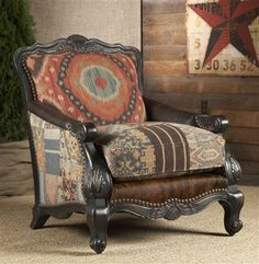 Chair,  fabric and hair hide