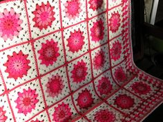 Happy Pink Posy Crochet Granny Square Blanket Afghan Throw Vintage Style via Etsy