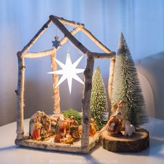 My son wanted a nativity scene this year. When I was little . - My son wanted a nativity scene this year. When I was little, we used to have something like that at - Rustic Christmas, Winter Christmas, Christmas Holidays, Merry Christmas, Christmas Decorations, Christmas Ornaments, Xmas, Diy Nativity, Christmas Nativity Scene