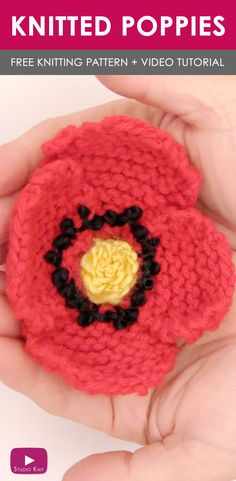 How to Knit a Poppy Flower with Easy Free Knitting Pattern + Video Tutorial by Studio Knit via @StudioKnit