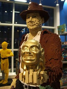 Life size Lego Indiana Jones (and C3PO in the background!)