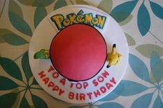 Pokemon Ball Cake complete with Pikachu