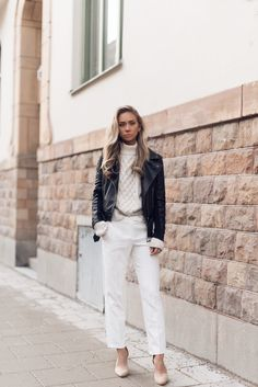 Jacket, NLY Trend by Lisa Olsson Pants, Topshop. Shoes, Nelly. Sweater, Zara.