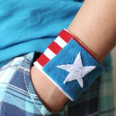 Red, White & Blue Fashion Cuffs craft for boys or girls. You could use card board from a toilet paper roll & decorate it with felt..